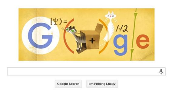 Photo courtesy Slate.com and Google.com  http://www.slate.com/blogs/browbeat/2013/08/12/schr_dinger_s_cat_google_doodle_what_is_the_story_behind_the_famous_feline.html